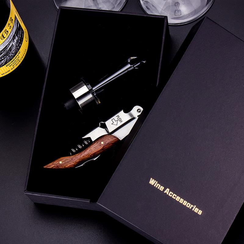 芯锐酒具套装快享创意套装彩木不锈钢酒刀倒酒醒酒器