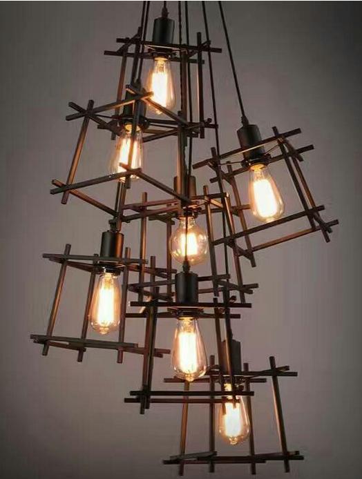 复古吊灯铁艺魔方led 餐厅网咖服装店理发店loft创意工业风格吊灯