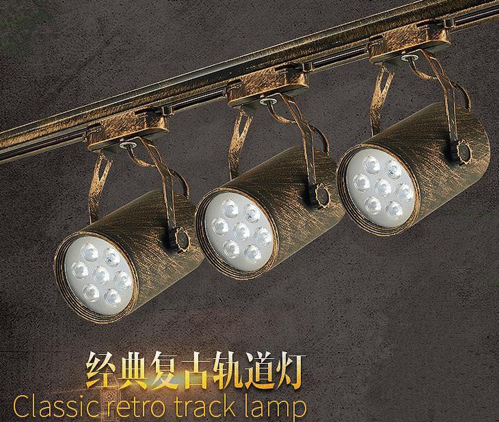复古工业风吸顶灯 艺术画展射灯 个性咖啡厅服饰店LED长杆射灯