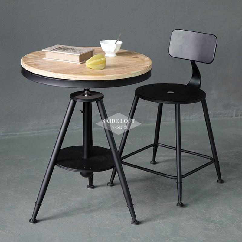 铁艺实木奶茶店餐桌椅组合休闲吧桌椅咖啡厅圆桌椅