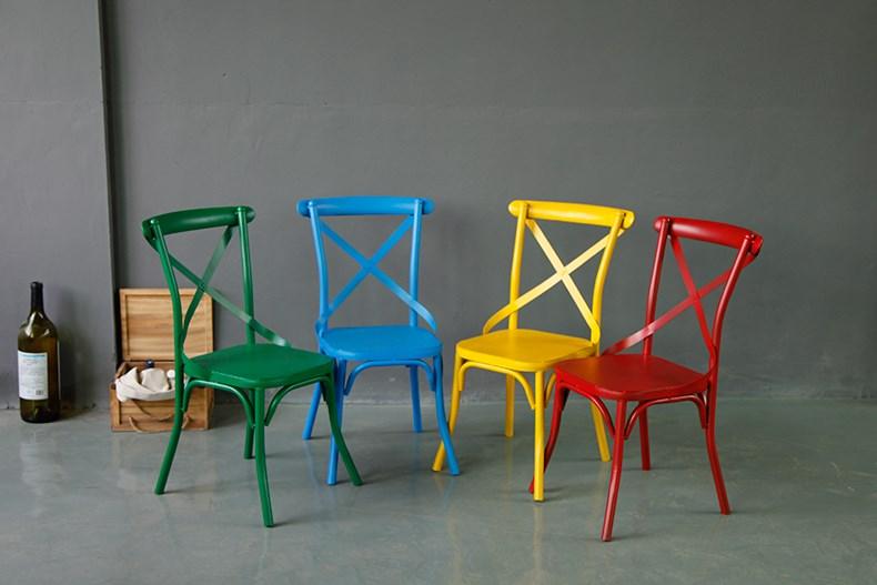 铁艺实木餐椅咖啡厅酒吧椅靠背椅