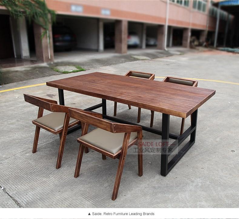 铁艺实木 餐桌复古餐桌美式北欧西餐厅咖啡厅