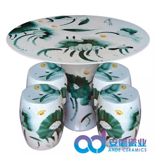景德镇陶瓷瓷桌 青花陶瓷桌凳