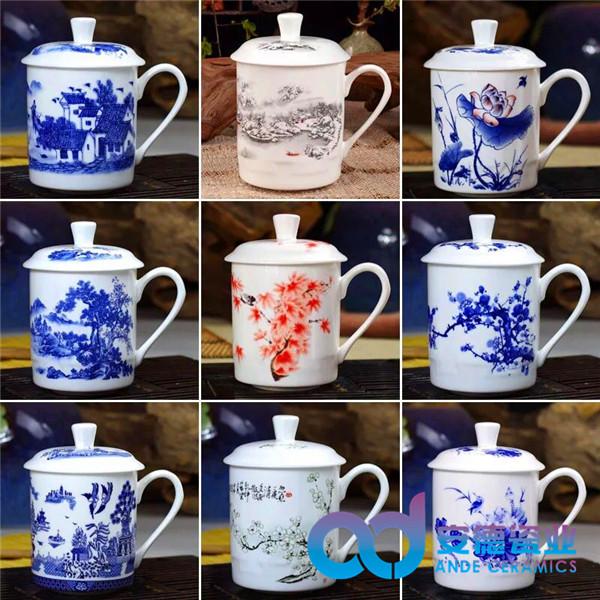 陶瓷礼品杯 手绘陶瓷茶杯 纪念陶瓷茶杯 青花瓷茶杯