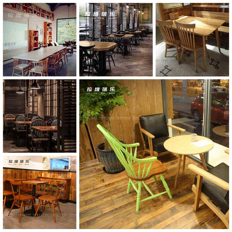 西安景区民宿简约休闲实木桌椅设计定做