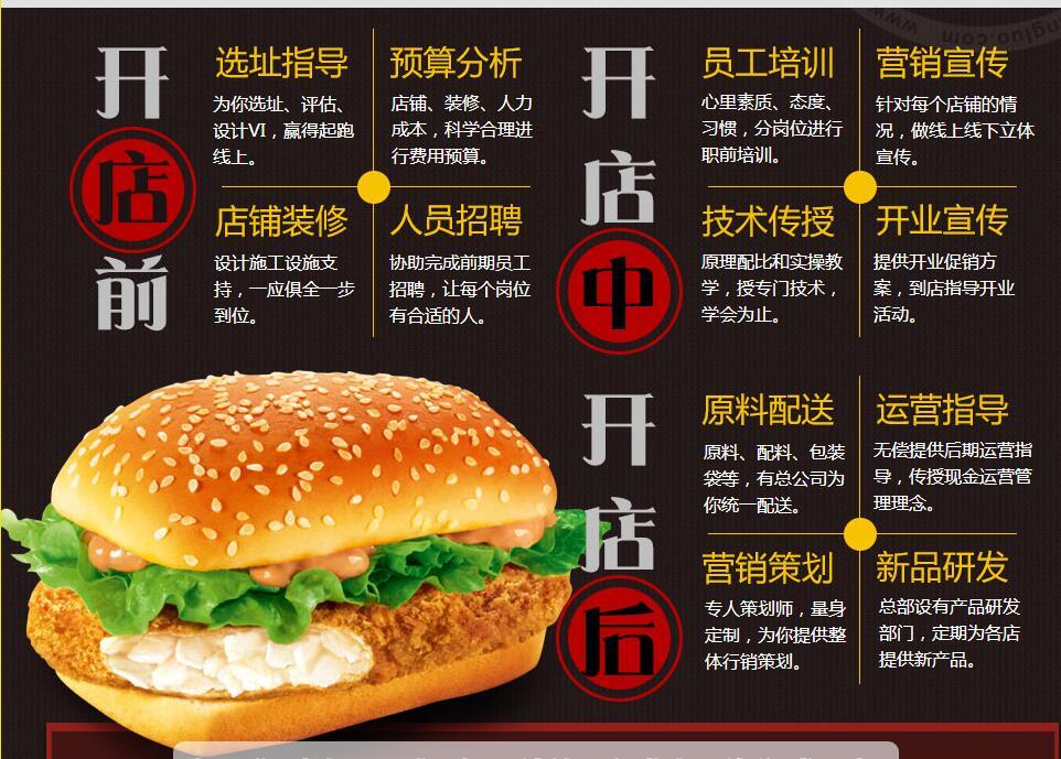 深圳炸鸡汉堡加盟价格