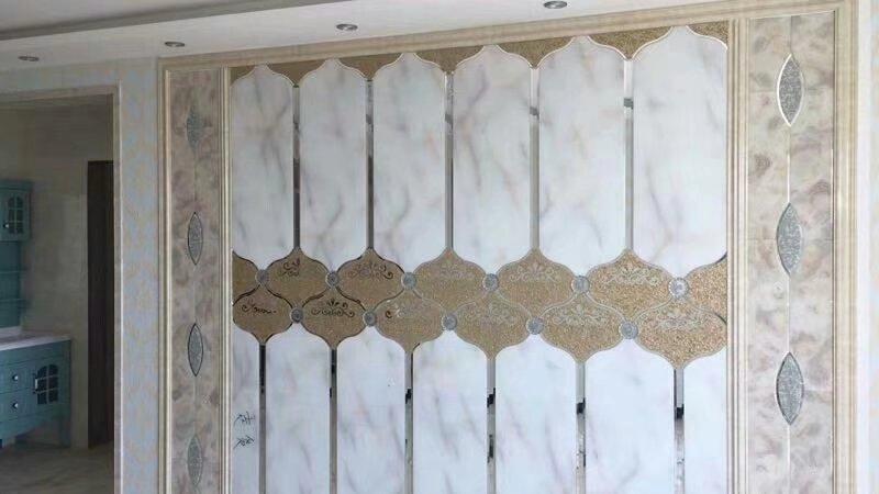 现代约艺术玻璃电视背景墙瓷砖客厅边框茶镜菱形玻璃拼镜