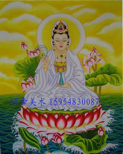 手绘佛像壁画寺庙背景墙壁画和欣赏价值上亿的油画