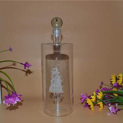 私人訂制酒瓶廠家直銷內置一帆風順造型玻璃酒瓶