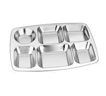 不锈钢大圆六格快餐盘-天泽五金