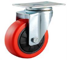 供应中型红色聚氨酯PU脚轮万向轮