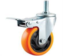 中型双轴橙色聚氨酯PU脚轮