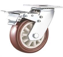 威霸供应重型双轴通花枣红PU脚轮
