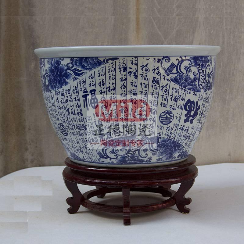 景德镇陶瓷缸手绘荷花缸乌龟缸