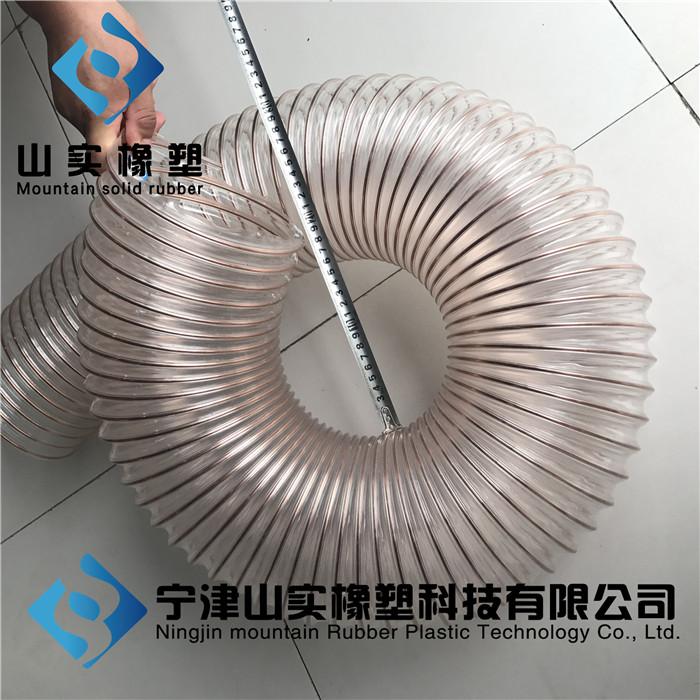 厂家直销透明钢丝伸缩软管PU钢丝缠绕集尘管耐磨耐负压