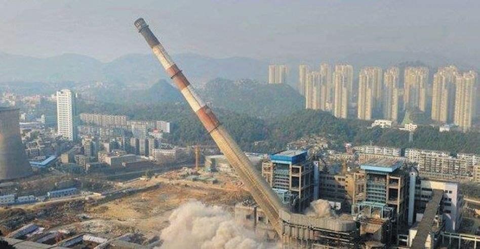 湛江市燃煤锅炉房烟筒拆除公司全员实动
