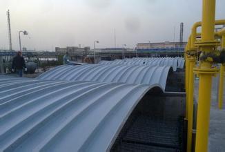 污水池加�w除臭板拱形玻璃��w板 厚度施工方案