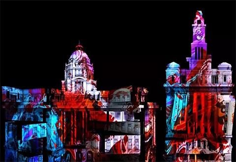 户外3D建筑投影秀,3D墙面投影秀景观是景区夜游的名片